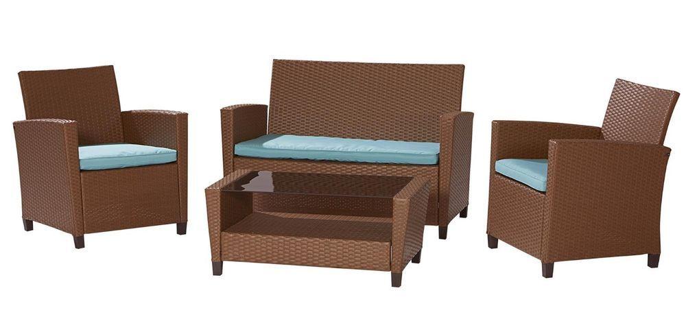 ebay #Outdoor #Patio #Set #Furniture #Wicker #Resin #Sofa #Teal ...