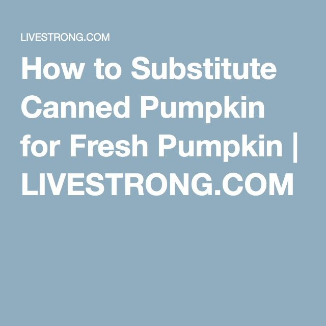 How to Substitute Canned Pumpkin for Fresh Pumpkin | LIVESTRONG.COM