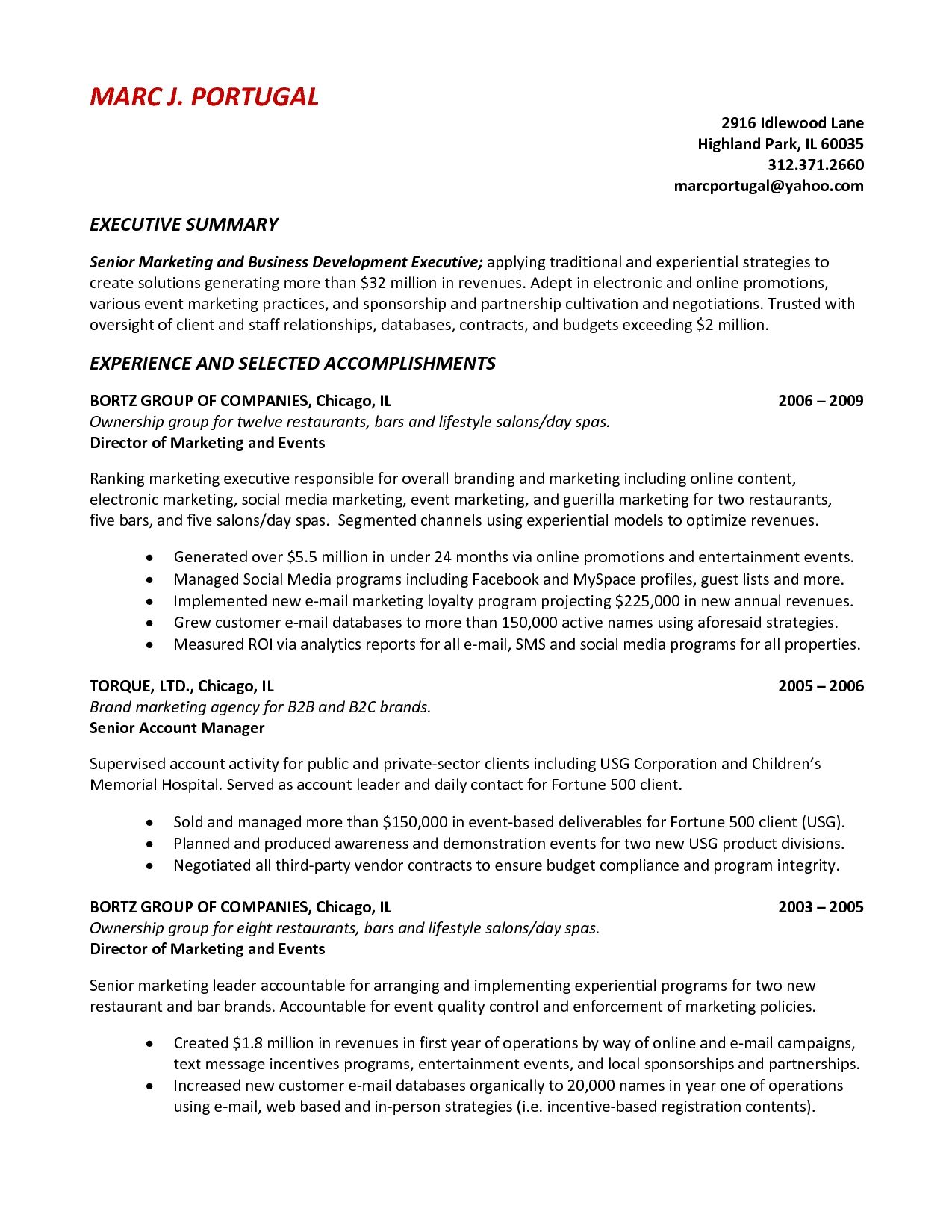 sample resume summary