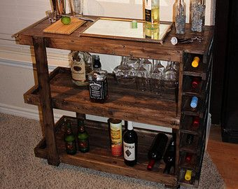 Handcrafted Wooden Bar Cart More