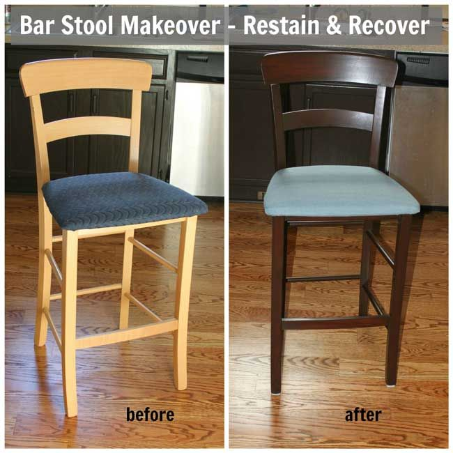 Bar Stool Makeover Re Stain Recover Sometimes Homemade Reupholster Bar Stools Bar Stool Makeover Stool Makeover