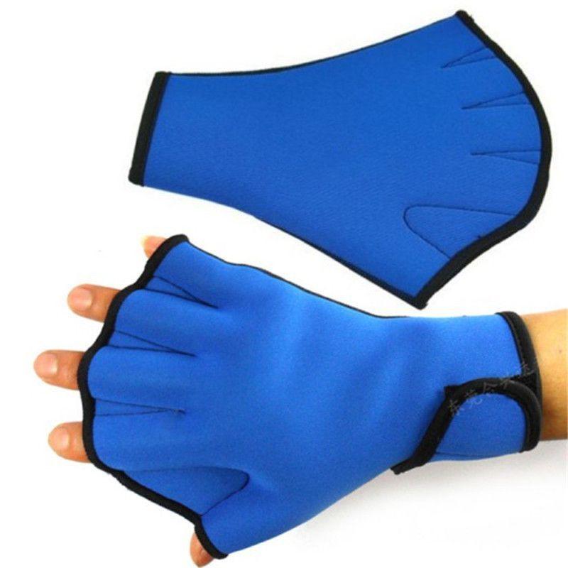 1 Pair Adults Neoprene Diving Swimming Gloves Training Fingerless Paddle Gloves