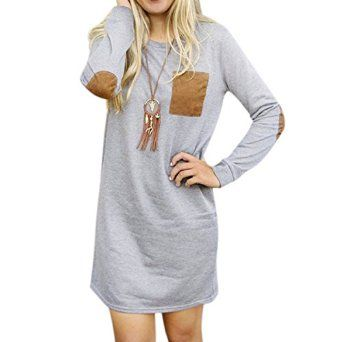 Cylyfmia Women's O Neck Long Sleeve Elbow Patch T-Shirt Dress at Amazon Women's Clothing store: