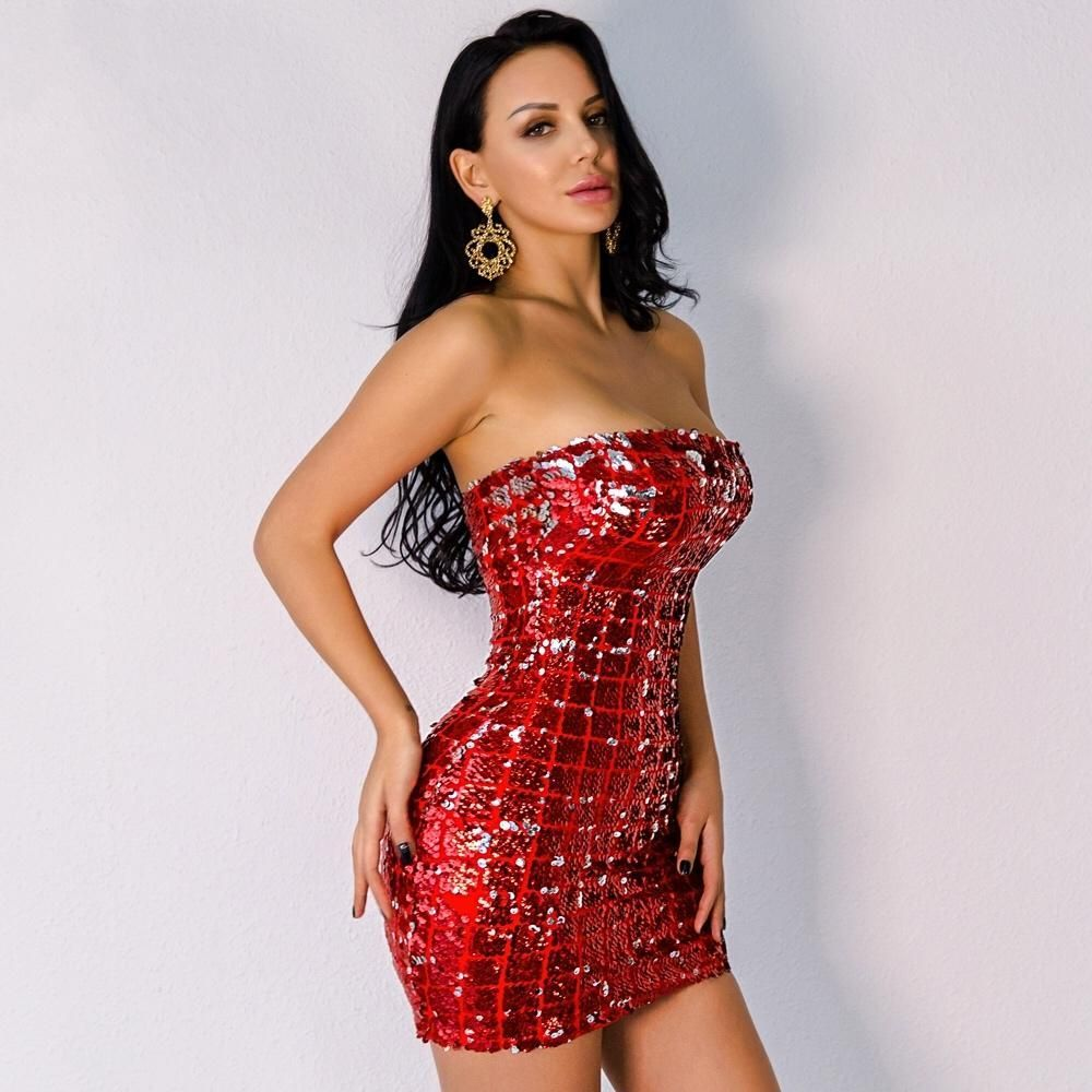 Make Sure All Eyes Are On You At Your Party With This Amazing Red Sequin Mini Dress With A Red Sequin Sequin Mini Dress Strapless Mini Dress Sheer Lace Dress [ 1000 x 1000 Pixel ]