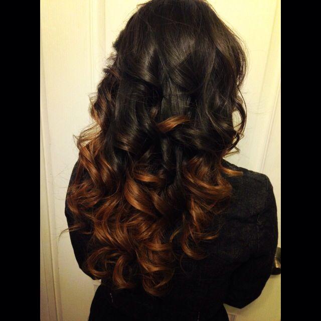 Stephanie: darkened hombre with a blow out, and curled style