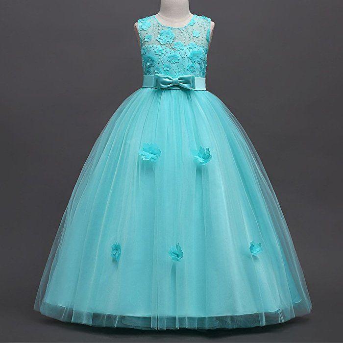 Denim Dress Girl Baby Summer Flower Princess Dress Party Wedding Pageant Dresses