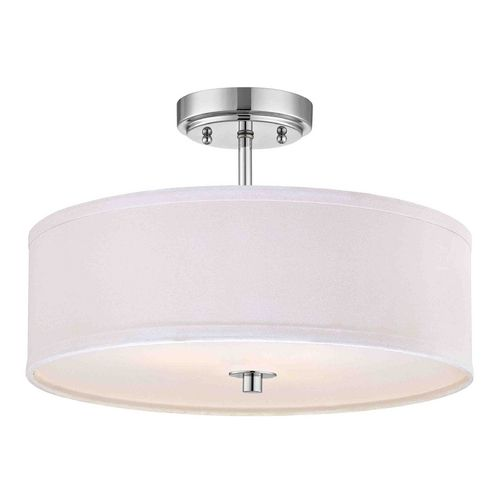 chrome semi flush ceiling light with white drum shade 16 inches