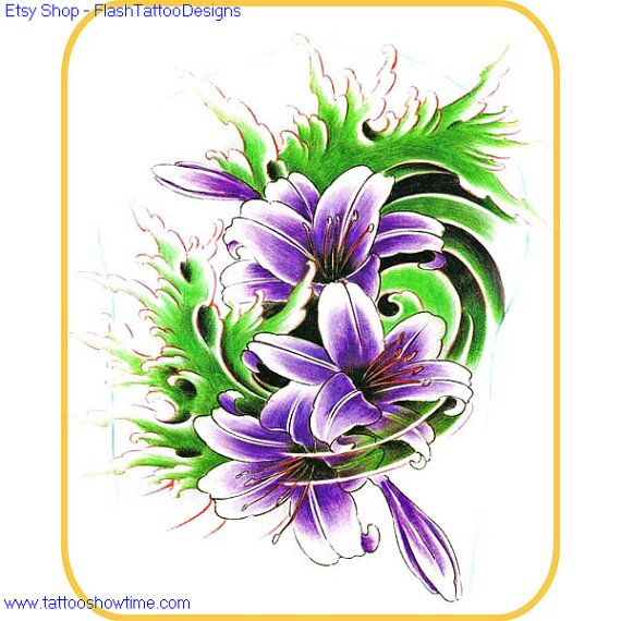 Flower Tattoo Flash Design 8 For You On Etsy. Top Quality