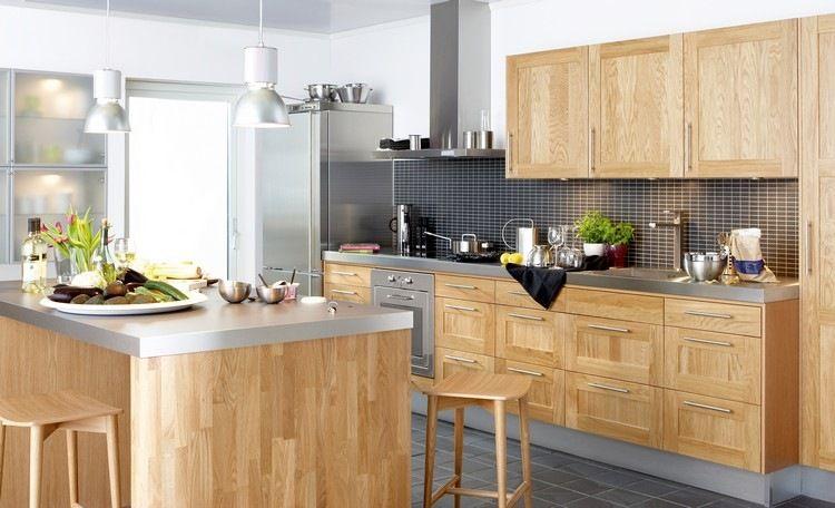 Holzküche und Edelstahl Arbeitsplatten Küche Pinterest