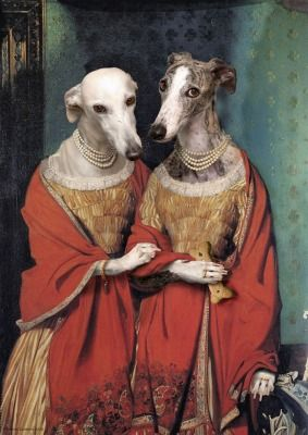 Whippets + Greyhounds. Lovely doggie sisters by Valerie Leonard.
