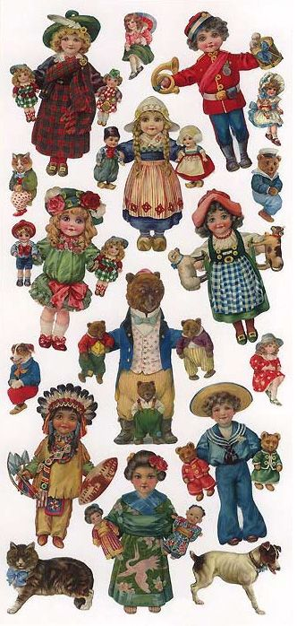 1 Sheet Of Stickers Victorian Pull Toys Vintage Paper Dolls Paper Doll House Paper Dolls