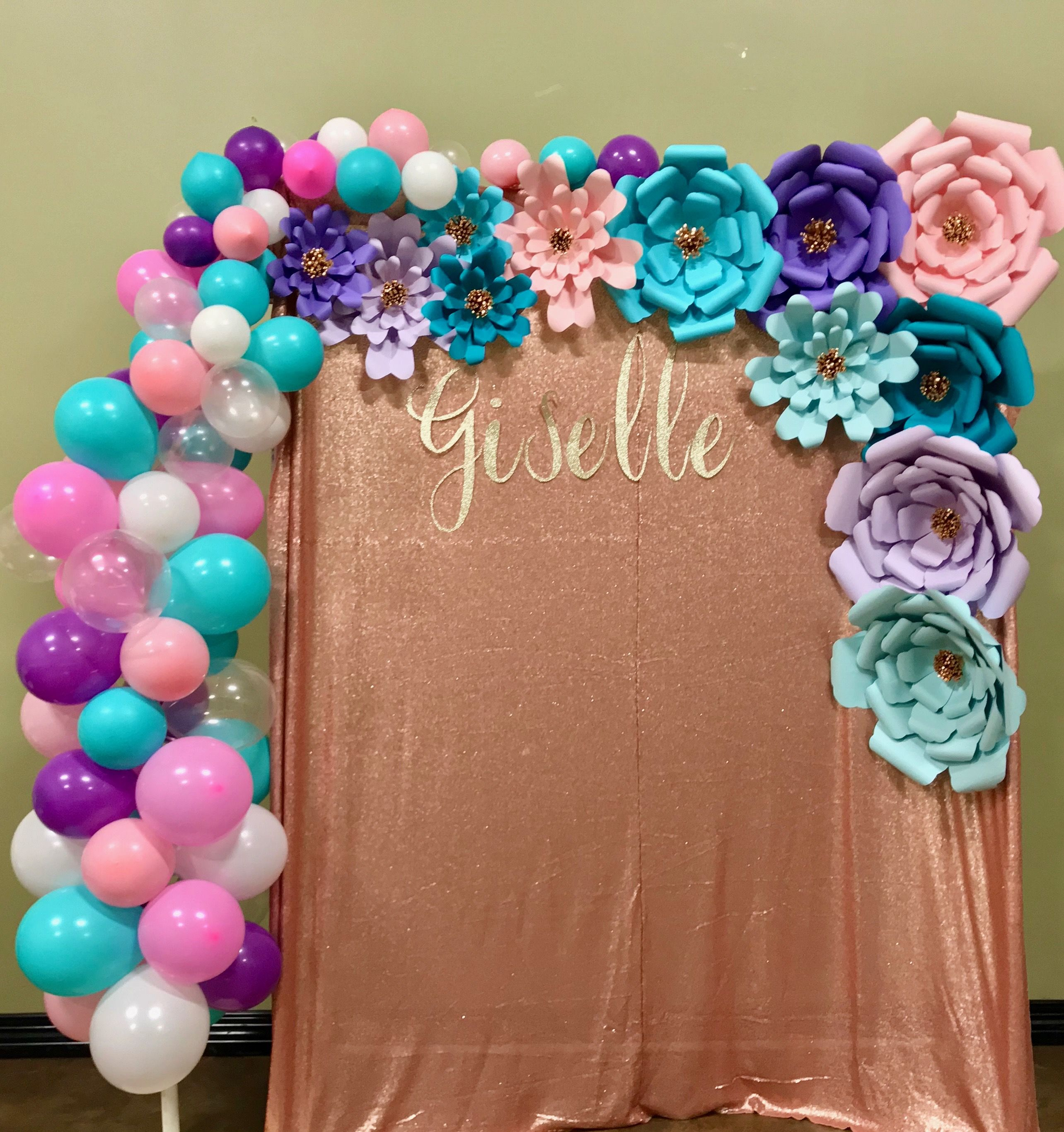 Photo Backdrop With Paper Flowers And Balloons Paper Flowers Balloons Paper Flower Decor