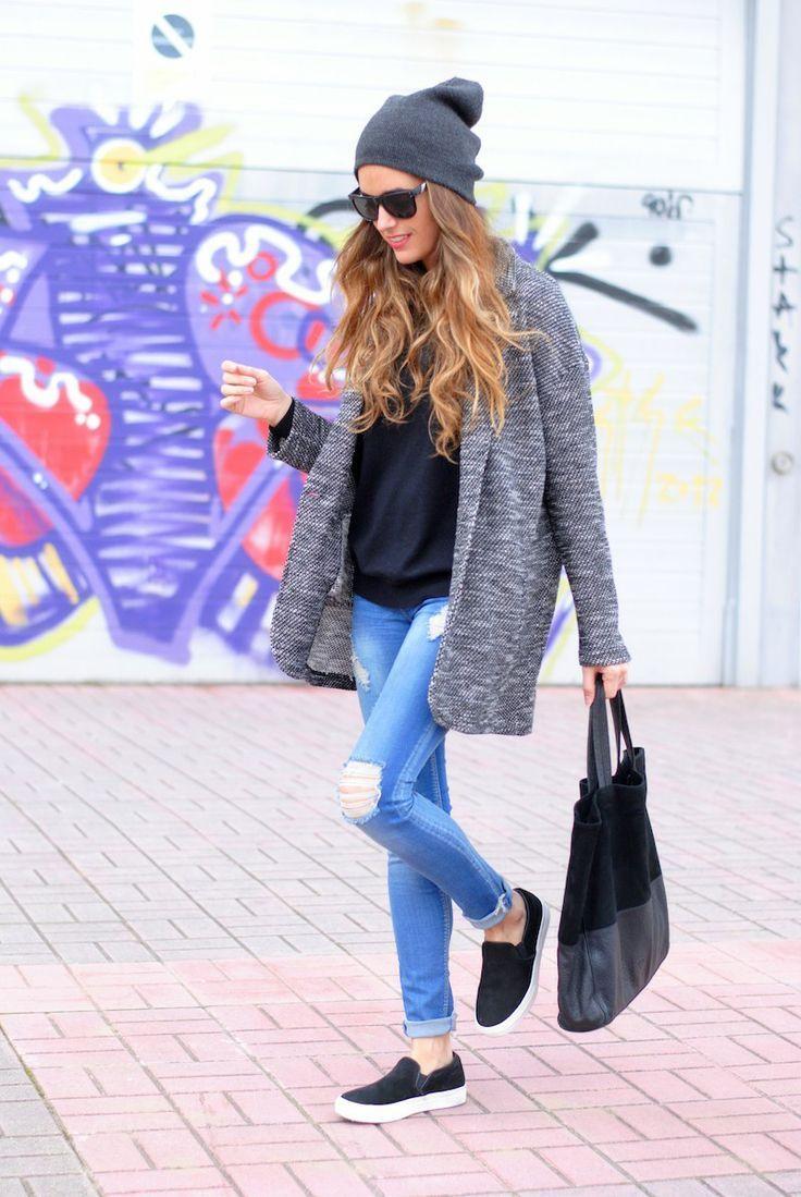 women's grey coat black turtleneck light blue ripped