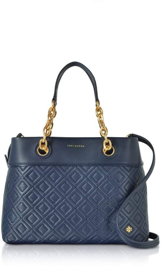 87332ce1e Tory Burch Fleming Royal Navy Leather Small Tote Bag W/shoulder Strap