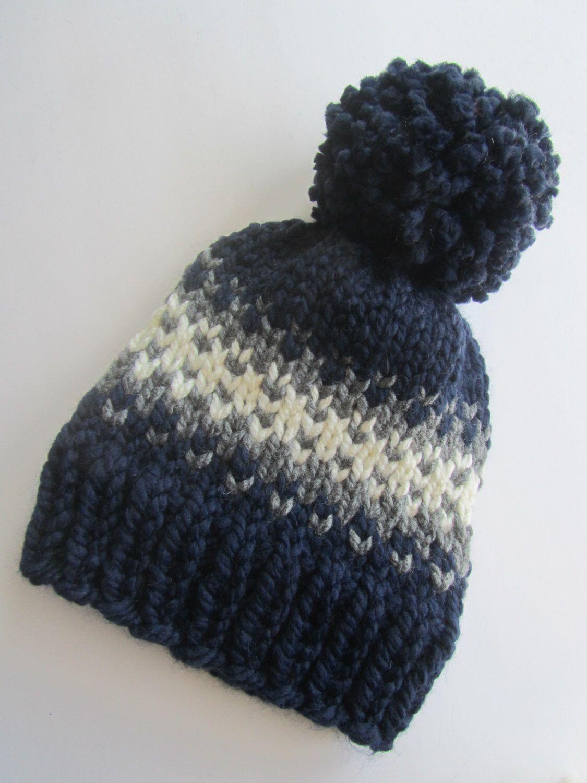Navy Blue Fair Isle Knit Hat, Fair Isle Hat, Knit Hat, Women\'s Knit ...