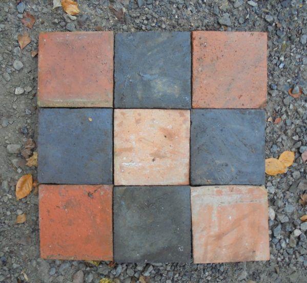 Reclaimed Encaustic Red Coloured Rectangle Floor Tiles Genuine Flooring