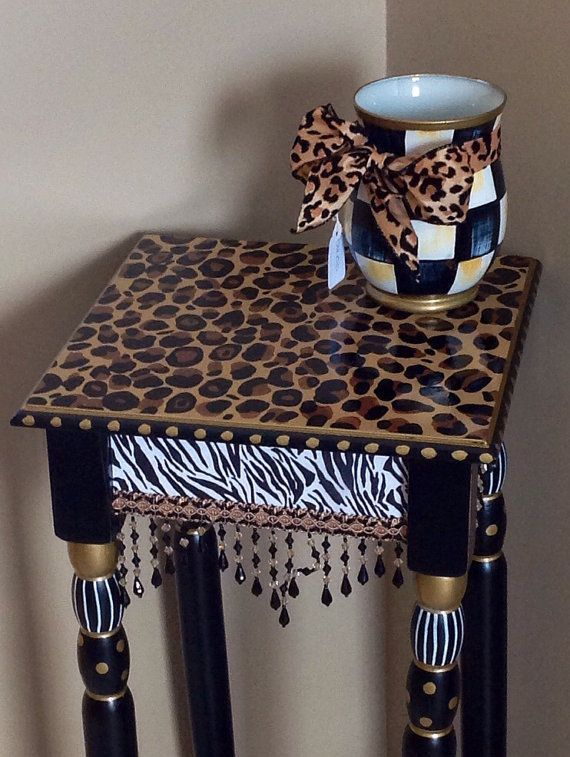 Whimsical Painted Furniture, Whimsical Painted Table, Painted Leopard Table // African Style Table // Whimsical Painted Furniture home decor