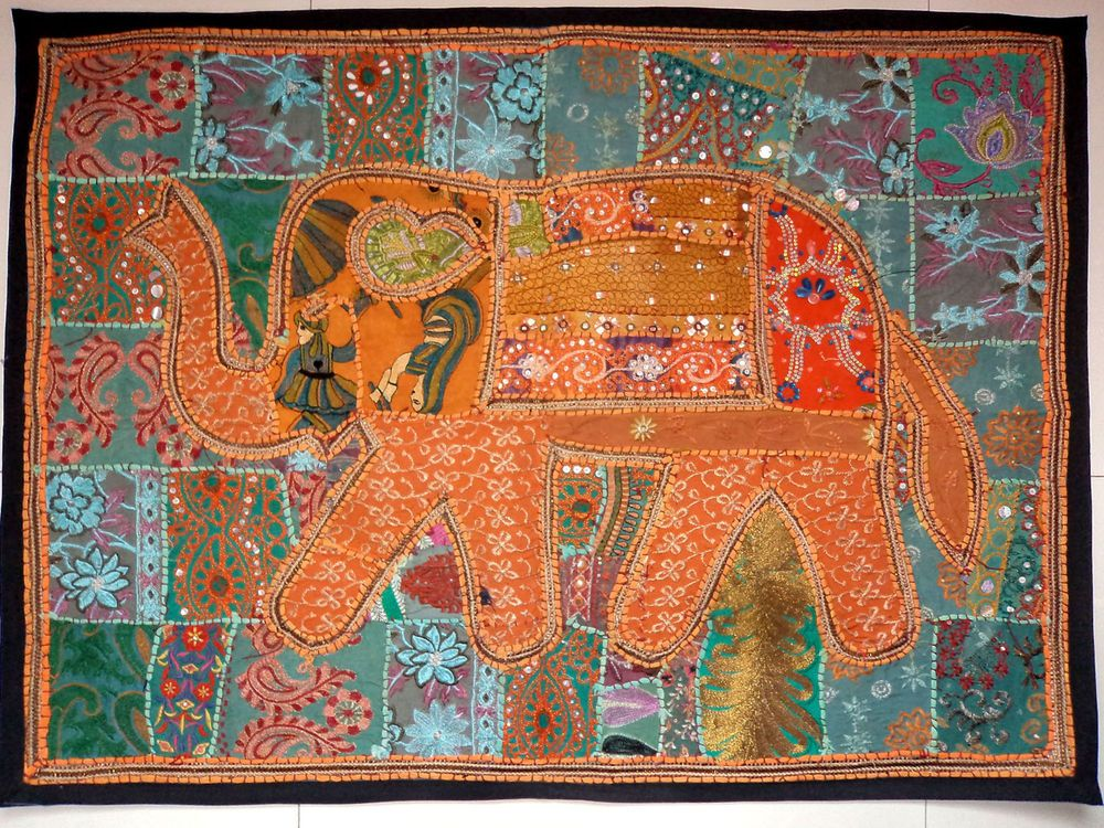 HANDMADE ELEPHANT BOHEMIAN PATCHWORK WALL HANGING EMBROIDERED TAPESTRY INDIA E96…