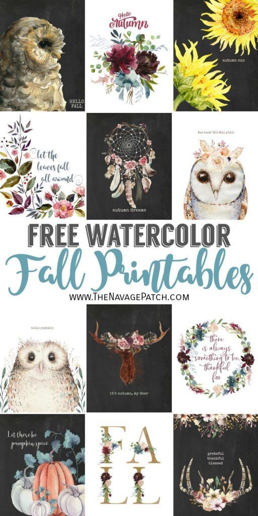 Free Watercolor Fall Printables