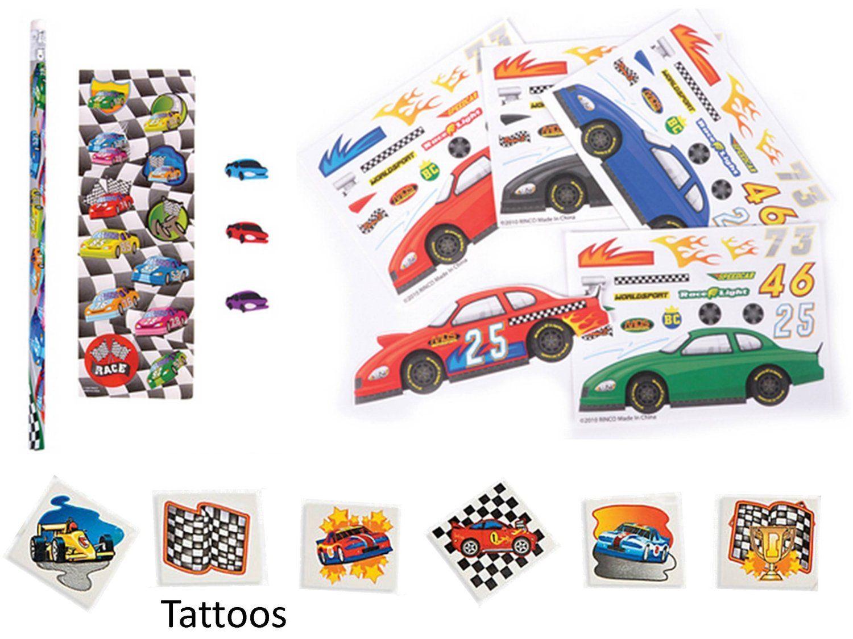 Amazon Com Race Car Party Favor Pack For 12 12 Make A Race Car Sticker Sheets 12 Race Car Pencil Stat Race Car Party Favors Cars Party Favors Race Car Party [ 1125 x 1500 Pixel ]
