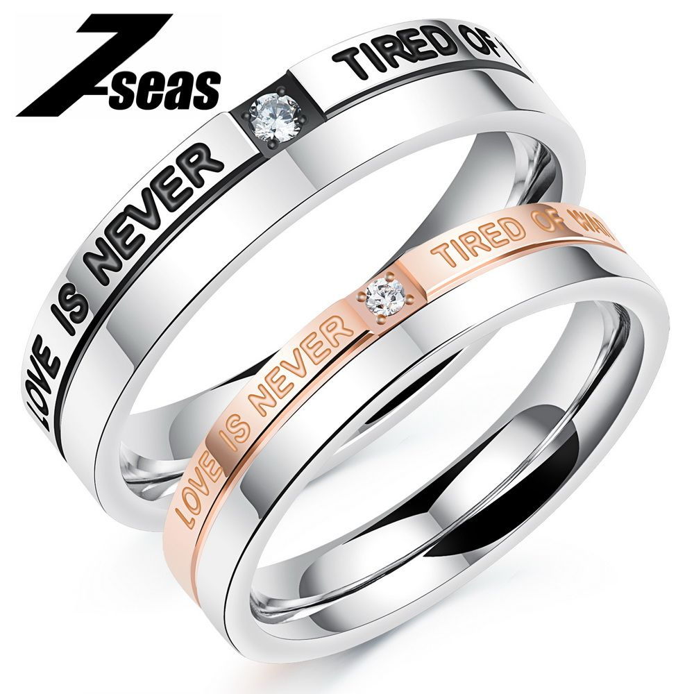 09a34068b859d Romantic Cubic Zirconia Lovers Couple Rings Sweet Promise Jewelry ...
