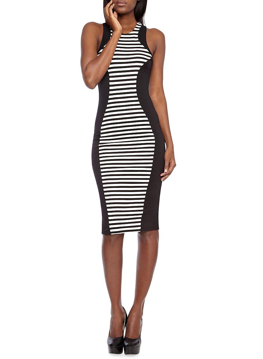 Stripe Paneled Midi Bodycon Dress With Zippered Racerback Midi Dress Bodycon Bodycon Dress Dresses [ 1234 x 904 Pixel ]