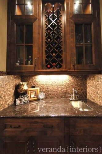 Lighting Basement Washroom Stairs: Small Wet Bar (making One Of The Top Cabinets A Wine Rack