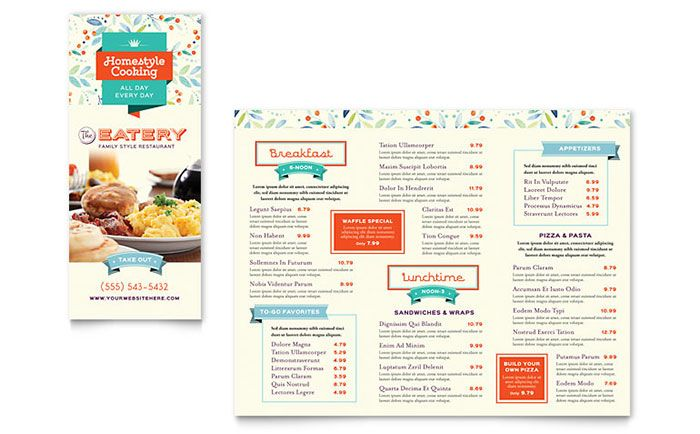 Family Restaurant Take Out Brochure Template Design By Stocklayouts