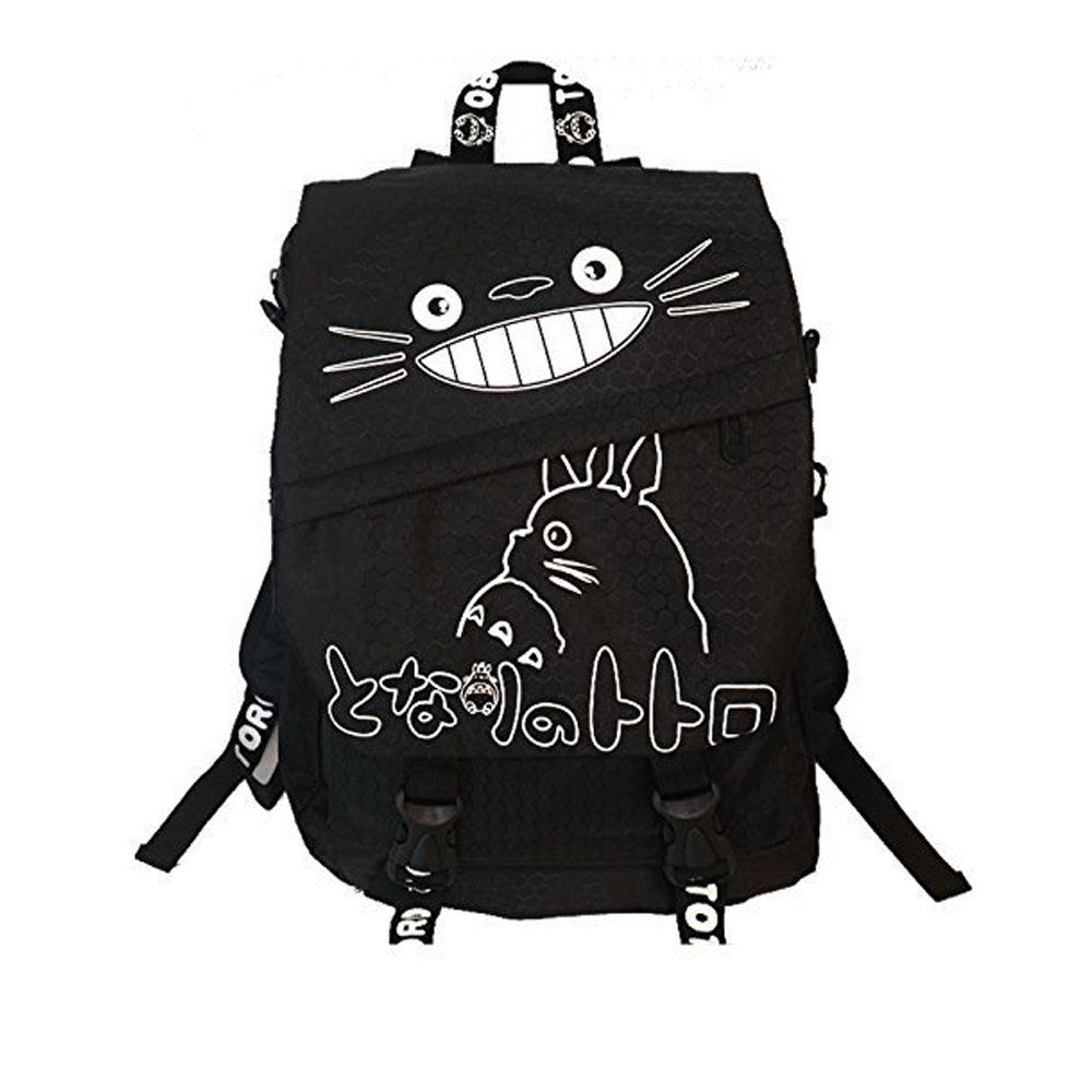 """Totoro Smiling Black Backpack with White Lettering 16"""" School Backpack"""