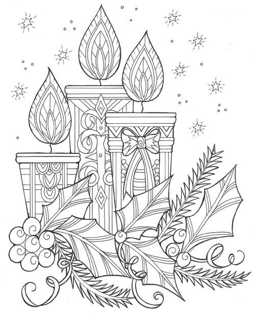 Enchanting Candles And Night Sky Christmas Coloring Page