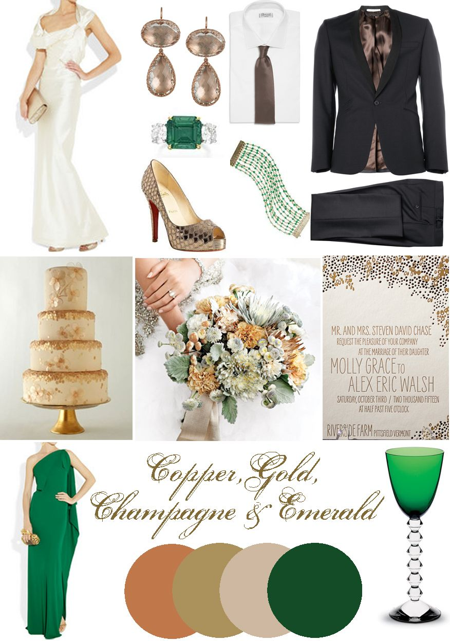 Gold+emerald+copper wedding color palette incredible for a formal ...