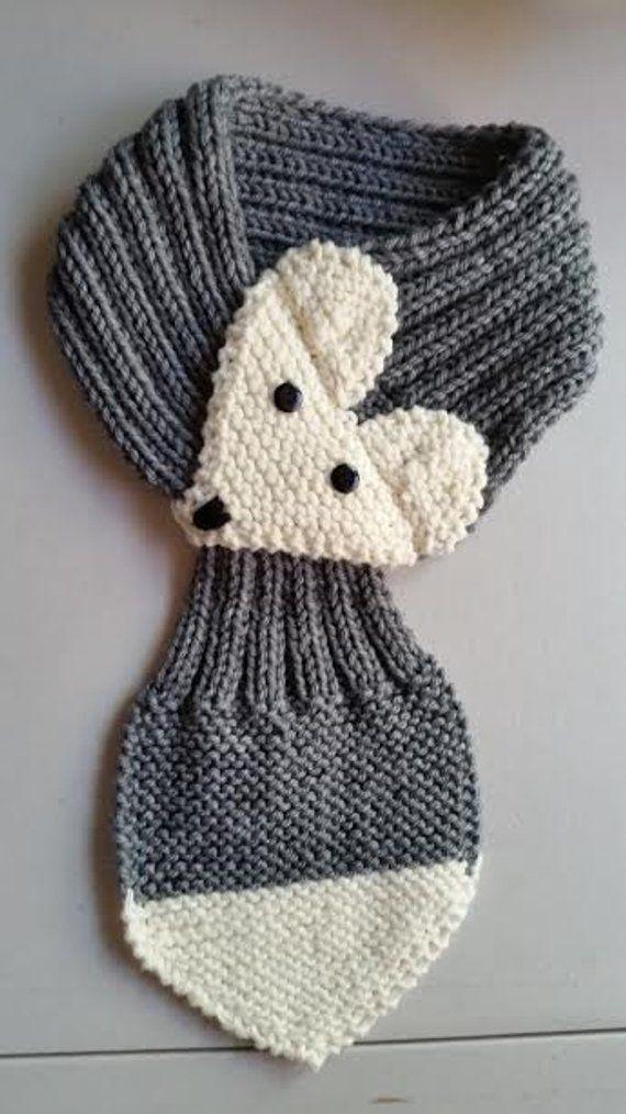 Photo of Justerbart Fox skjerf For barn eller voksne håndstrikket FOX skjerf / halsvarmer