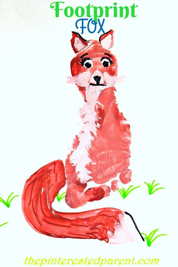 Footprint fox craft footprint crafts a z f is for fox for Hand and feet painting ideas