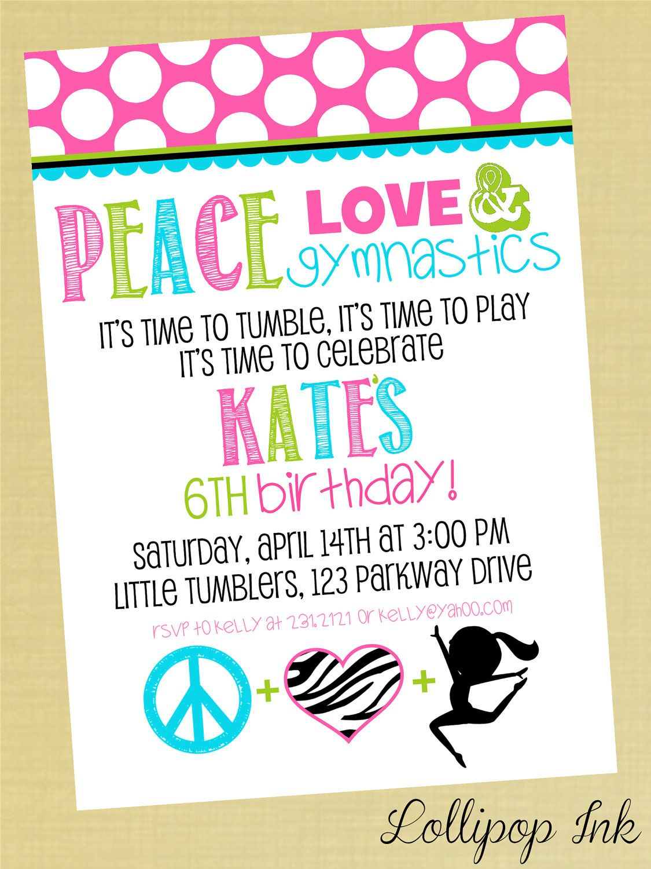 Gymnastics Printable Birthday Invitation, Peace Love Gymnastics ...