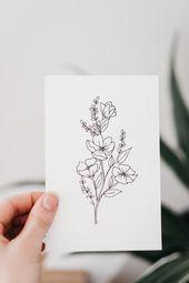 Photo of Inspiration florale tatouage illustrations florales, contour de pivoine, pivoine …