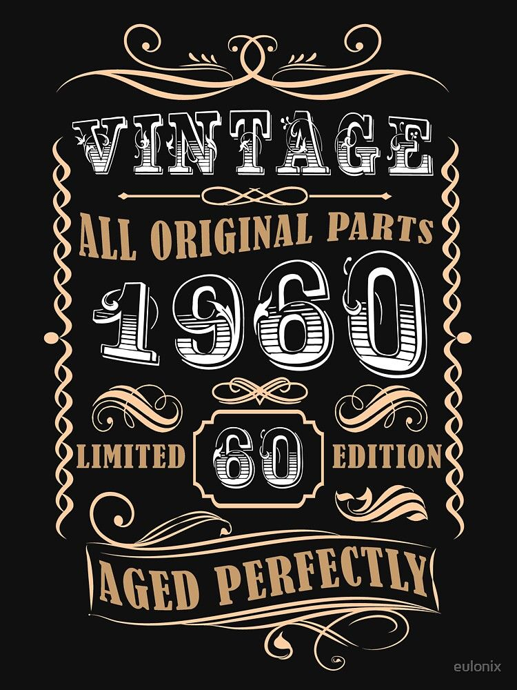 'Vintage 1960 60th Birthday Gift For Men' TShirt by