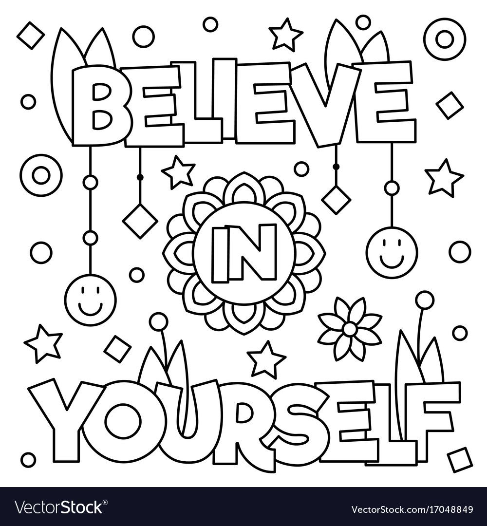 Believe in yourself coloring page vector image on