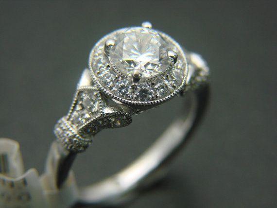 7d482d22c4d8c Gabriel and Co Diamond 14K White Gold Halo Antique Vintage Victorian ...