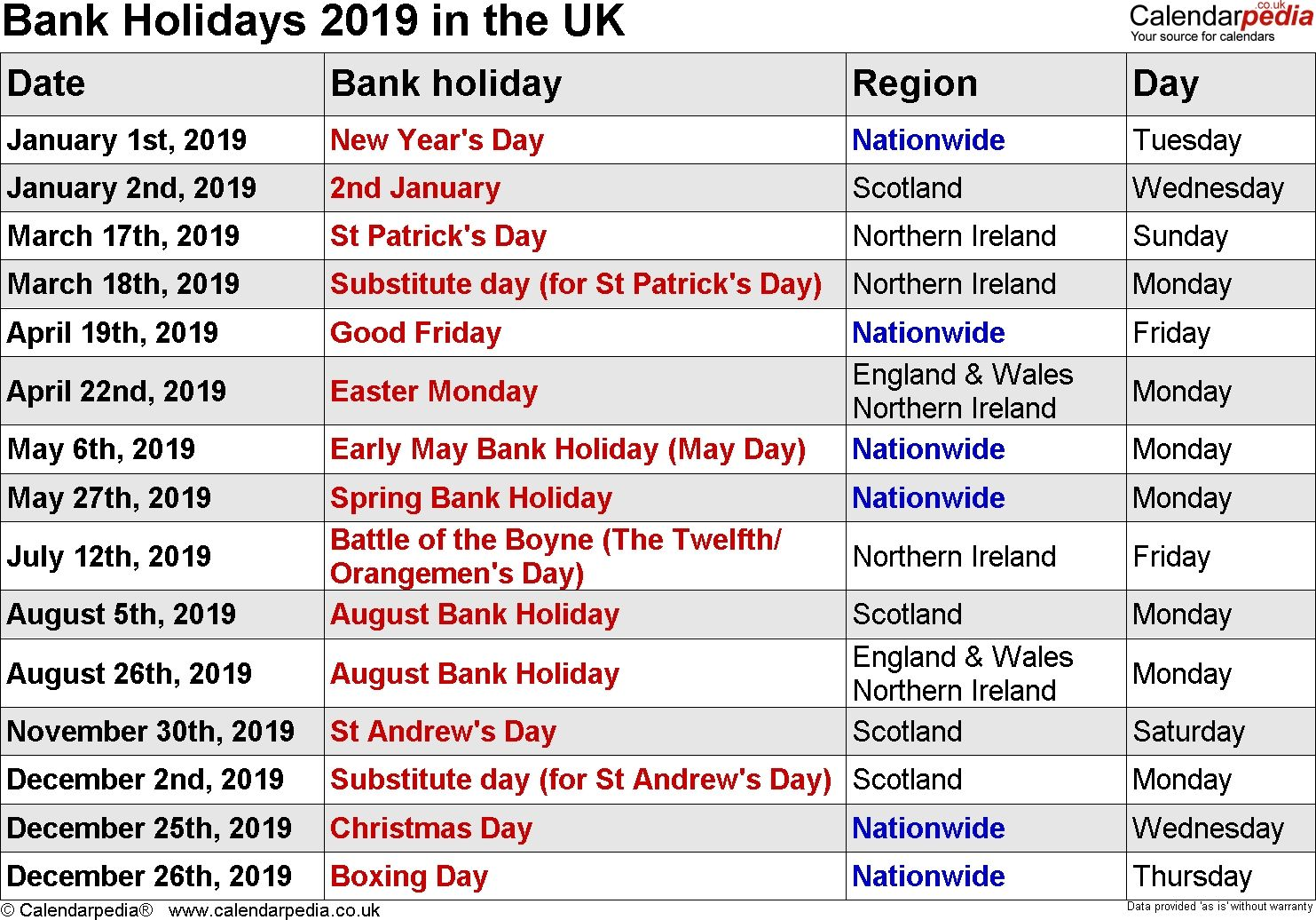 Bank Holidays 2019 In The Uk Free Check More At Https