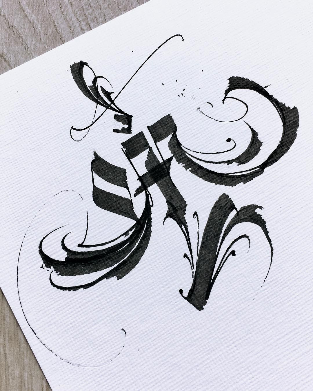 M letter • kr_uk freehand calligraphy gothic