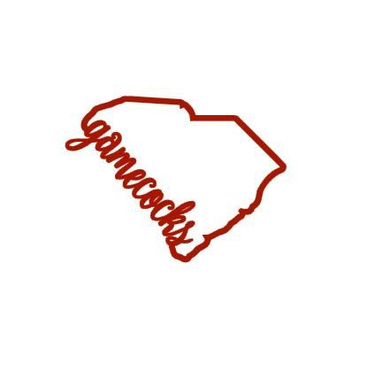 This listing is for a vinyl decal that includes the outline of the state of south carolina with gamecocks script this decal would make a great addition to