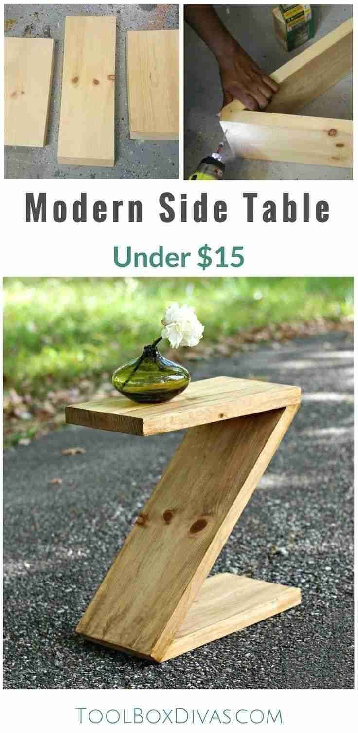 Learn how to build this simple modern side table that is shaped like a Z. Great beginner woodworking project. Would be a great Christmas gift. How to plan for modern furniture. @ToolboxDivas #ToolboDivas #Freeplans #Modernfurniture #DIY #Woodworking #Sidetable #WoodworkingDesign #DiyWoodworkingIkeaHacks