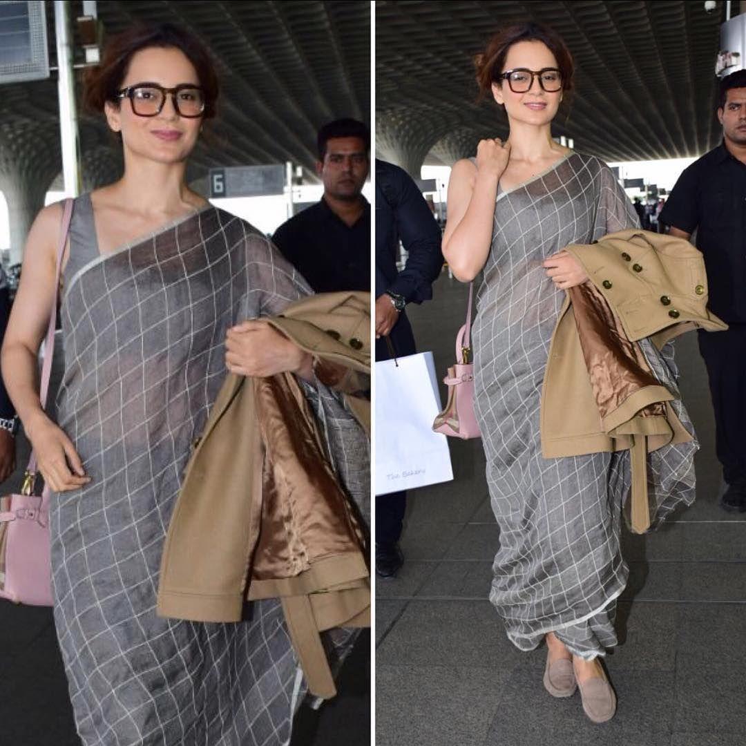 Kangana wearing Saree - Airport Look