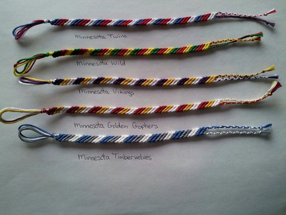 #Minnesota team colors friendship bracelets by Liv4Friendship #etsy #friendshipbracelets #vikings #mnwild #mntwins #gophers #timberwolves #lynx #mpls #MN