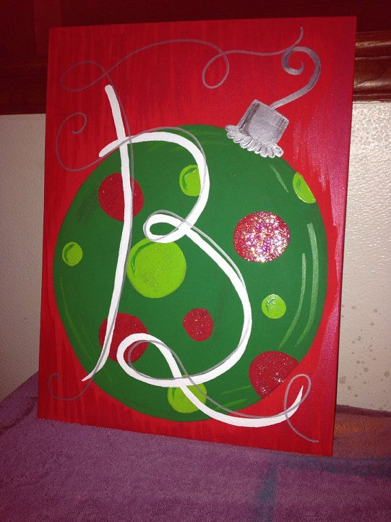 handpainted christmas ornament canvas panel by cosebellebyashley