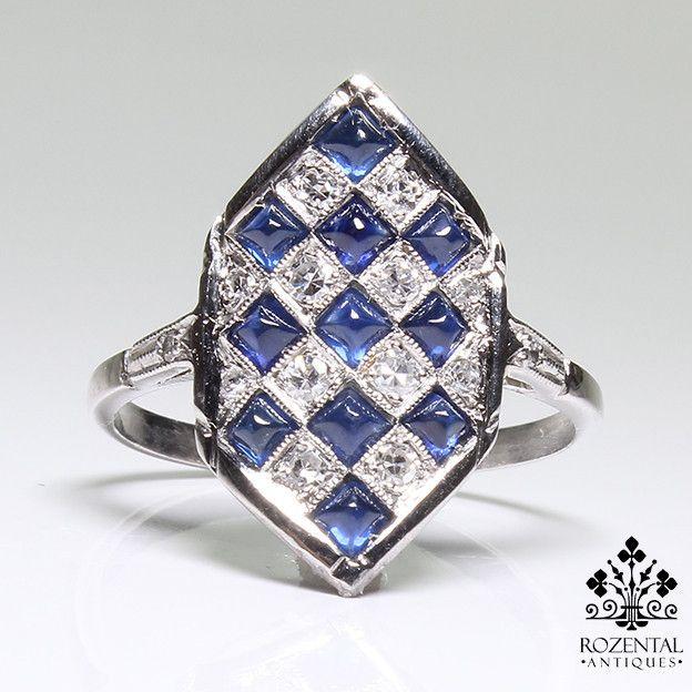 Arte antiguo Deco y de platino y diamantes anillo de zafiro
