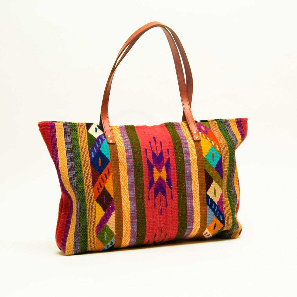 Lana bag wool oaxaca bag handmade with leather straps - Tapetes de lana ...