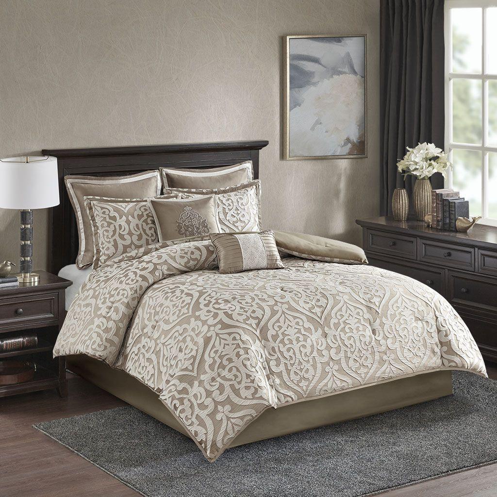Madison Park Cal King 8 Piece Jacquard Comforter Set In Tan
