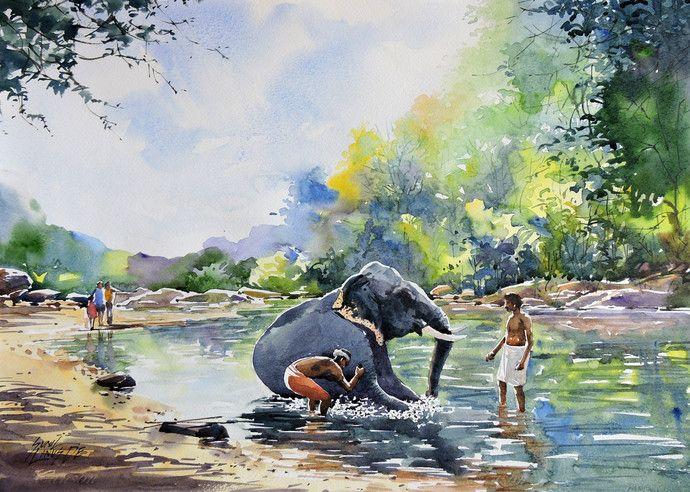 Mojarto Watercolor Landscape Paintings Watercolor Art Landscape Landscape Paintings
