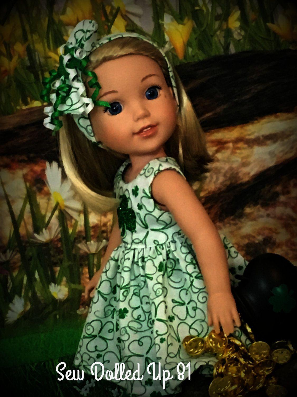St Patrick\'s Day Shamrock dress and jacket set for 14 inch dolls